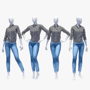 set female jeans 3D model