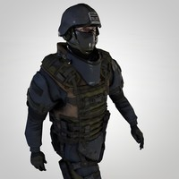 SWAT soldier (Animated, Rigged)