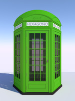 classical hexagonal british phone 3D model