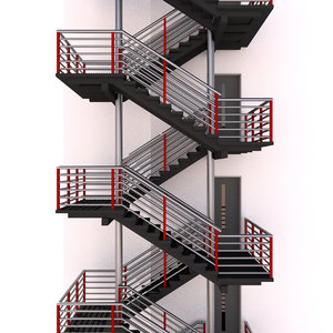 modular escape stairs 3D model