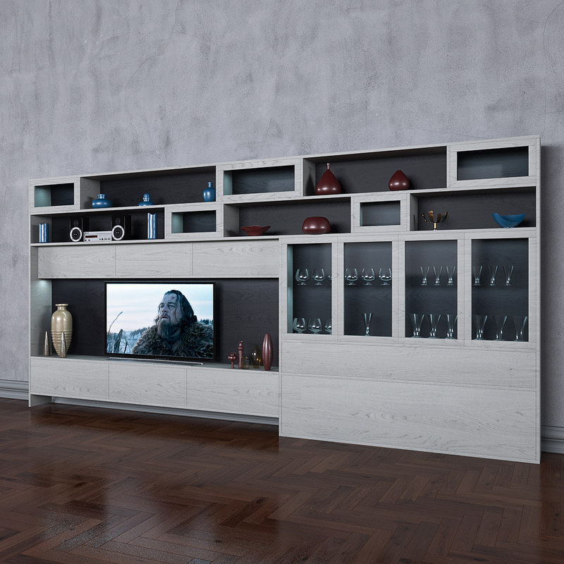 Ordinaire 3D Wardrobe Tv Books Wall