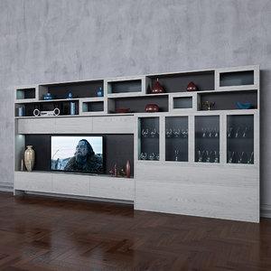 3D wardrobe tv books wall