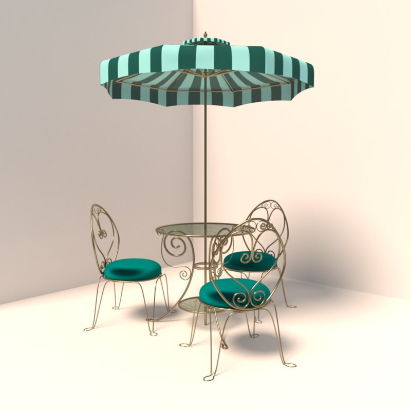 French Cafe Table Chairs 3d Model