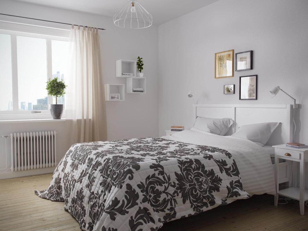 3D model room bedroom scandinavian
