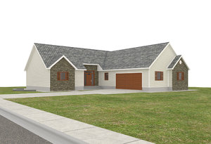 house garage deck 3D model