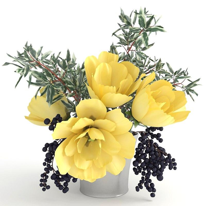 3D tulips bouquet model