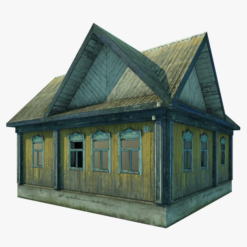 single abandoned wooden house 3D model