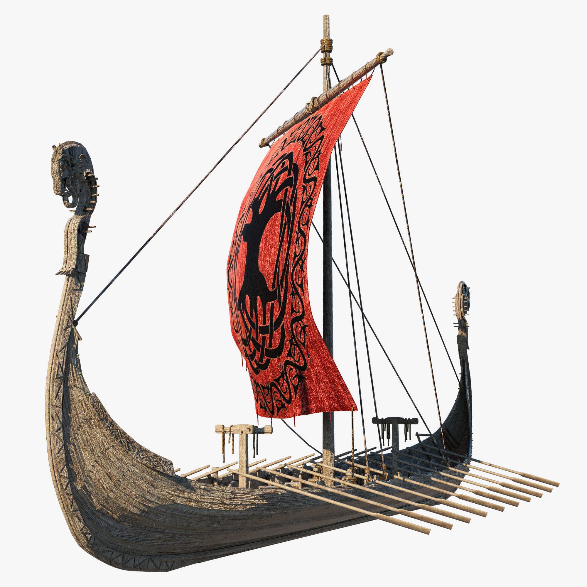 ancient viking drakkar 3D model
