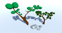 rocks trees polys 3D model