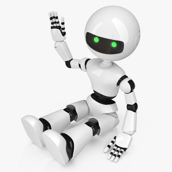 3D white robot model