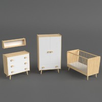 set furniture bed infant 3D