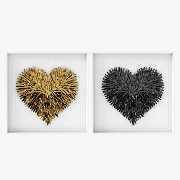 restoration hardware feathered heart 3D model