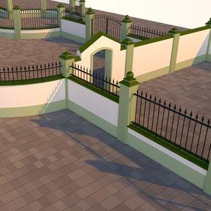 3D model outdoor walls fences gates
