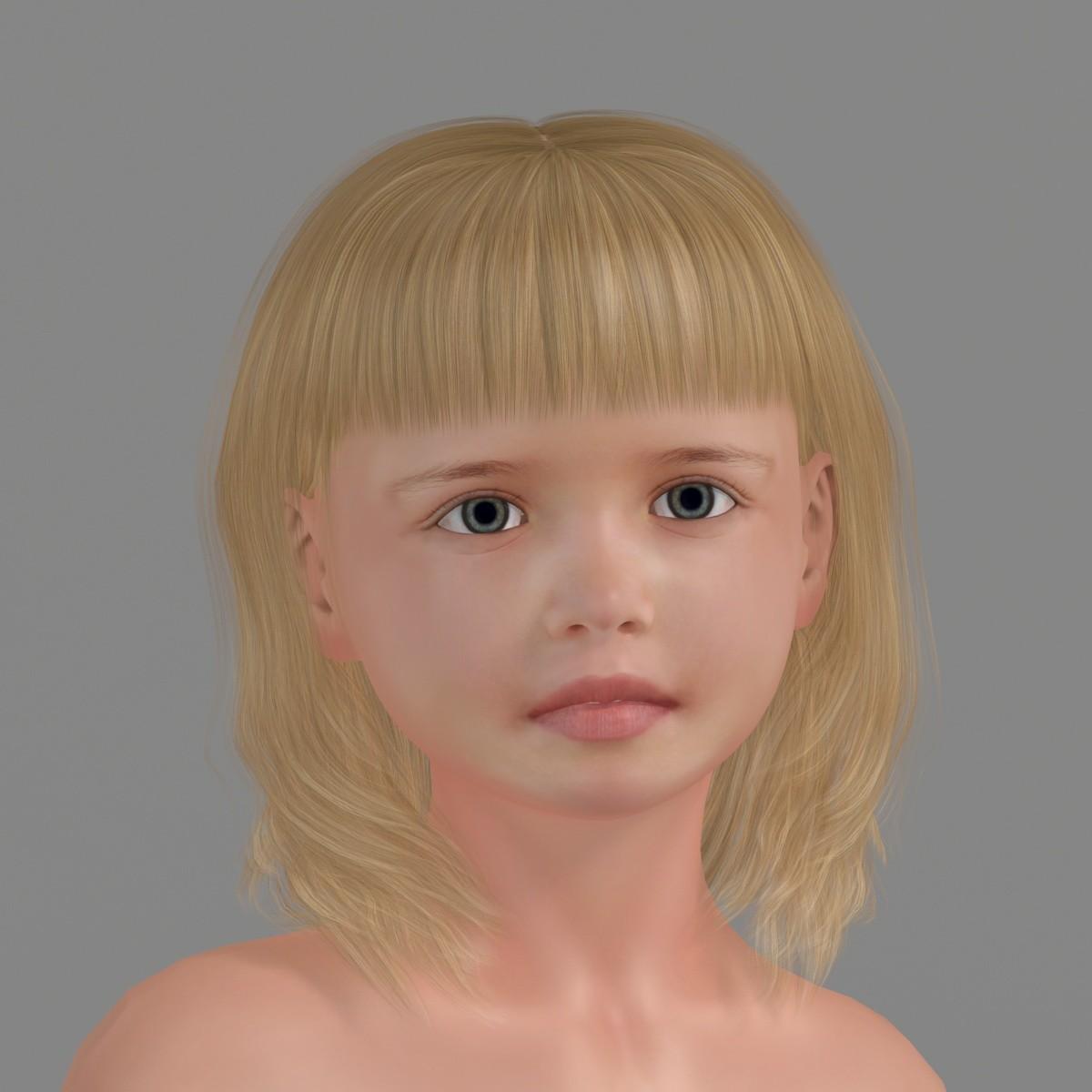 3D girl blonde little