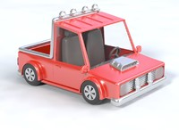 3D model truck pick-up cartoon