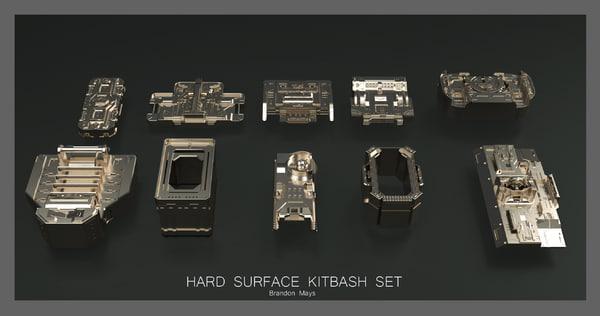 hard surfaces boxes kitbashing 3D model