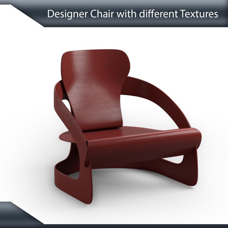 3D model designer chair multiple
