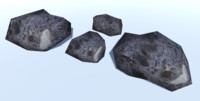 4 Ultra Low Poly Rocks