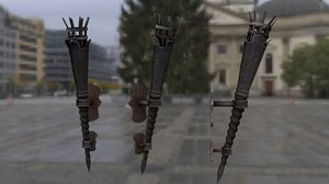 3D medieval iron torch