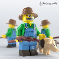 lego farmer figure 3D model