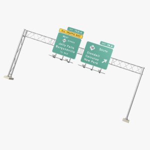 3D model overhead highway signs version
