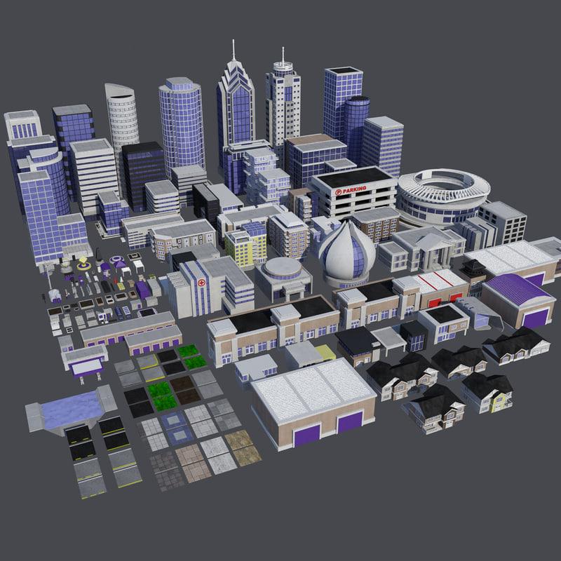 3D - modern city builder model