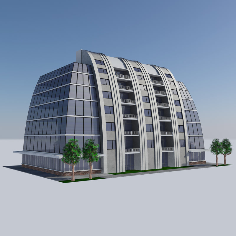 - modern apartment building 3D