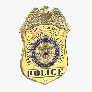police badge modern 01 3D model