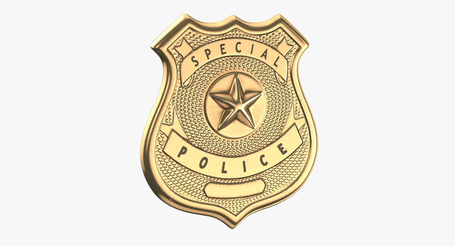 3D police badges modern 03