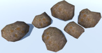 6 Ultra Low Poly Rocks