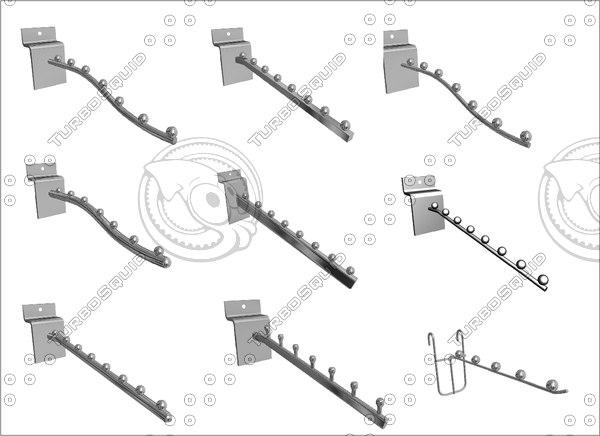 slatwall accessories 80 pieces 3D model