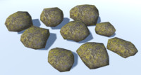 9 Ultra Low Poly Rocks