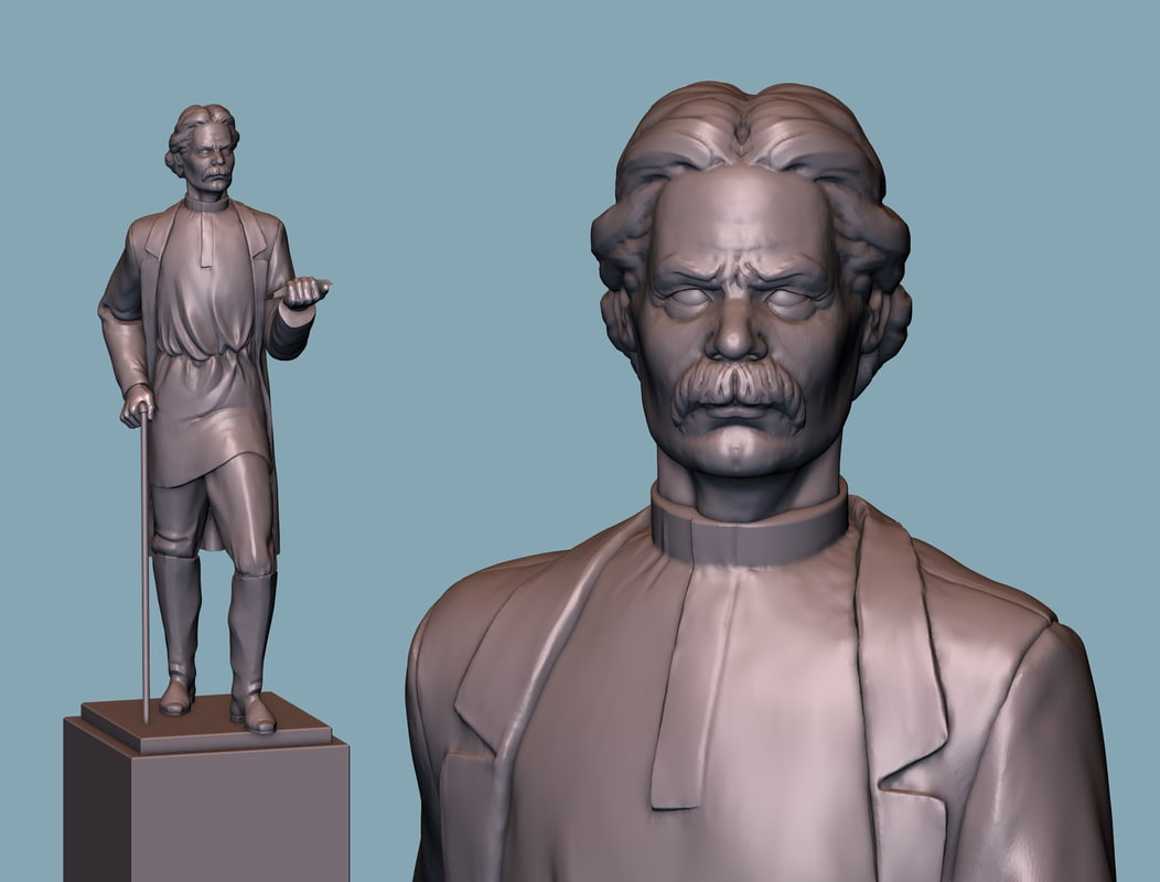 3D model maksim gorky statue