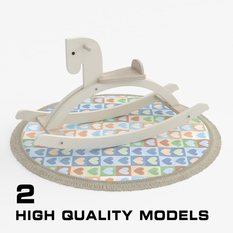 wooden rocking horse carpet 3D model