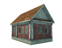 single abandoned wooden house 3D