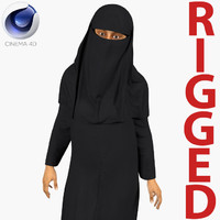 Arabian Woman in Black Abaya Rigged for Cinema 4D
