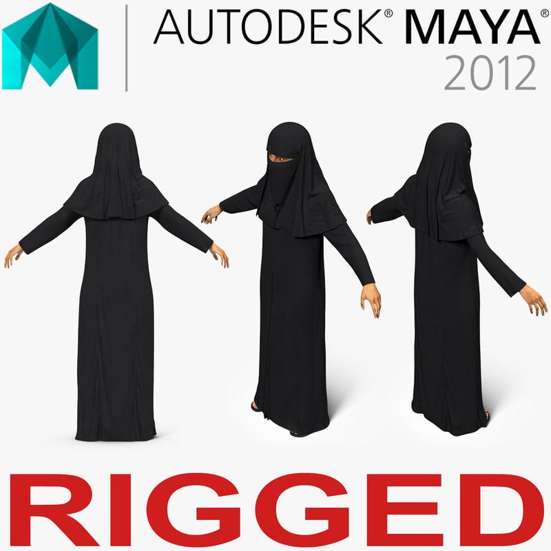 arabian woman black abaya 3D model