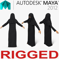 arabian woman black abaya 3D model