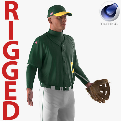 3D baseball player rigged generic