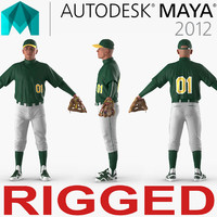 Baseball Player Rigged Generic for Maya 3D Model