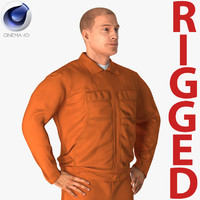 builder wearing orange long 3D model