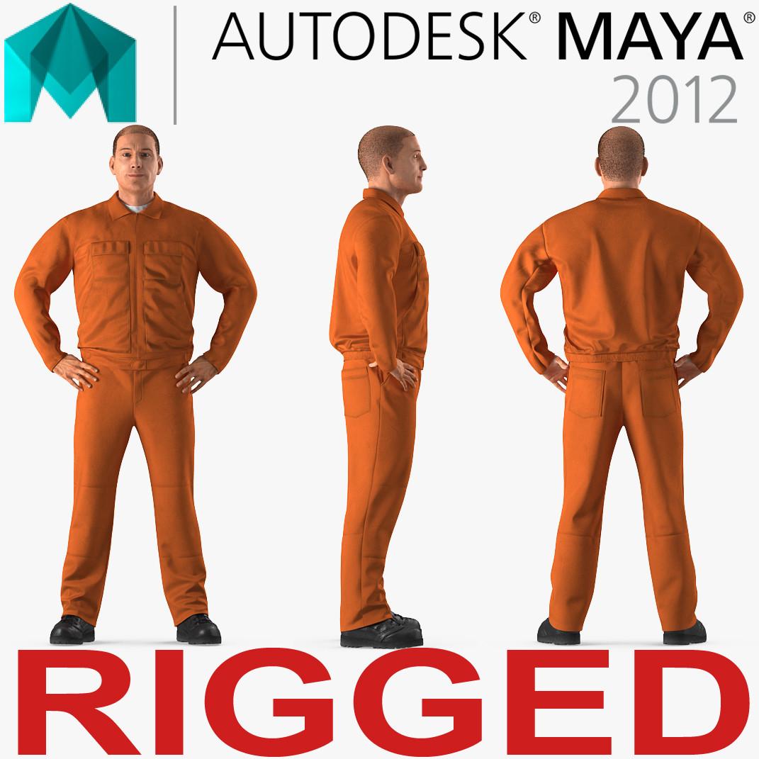 builder wearing orange long 3D model