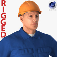 Construction Worker Wearing Blue Overalls Rigged for Cinema 4D