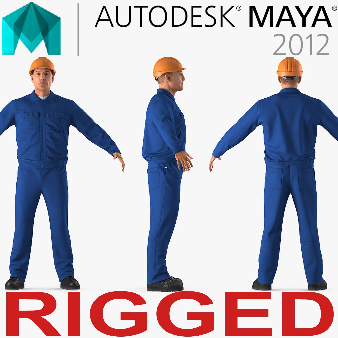 construction worker wearing blue 3D model