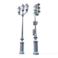 Low Poly Lamp Post 3d model.