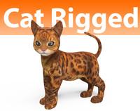 cute cat rigged 3D model