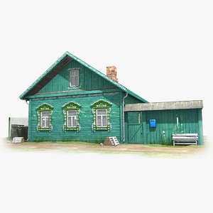 3D model izba russian wooden house