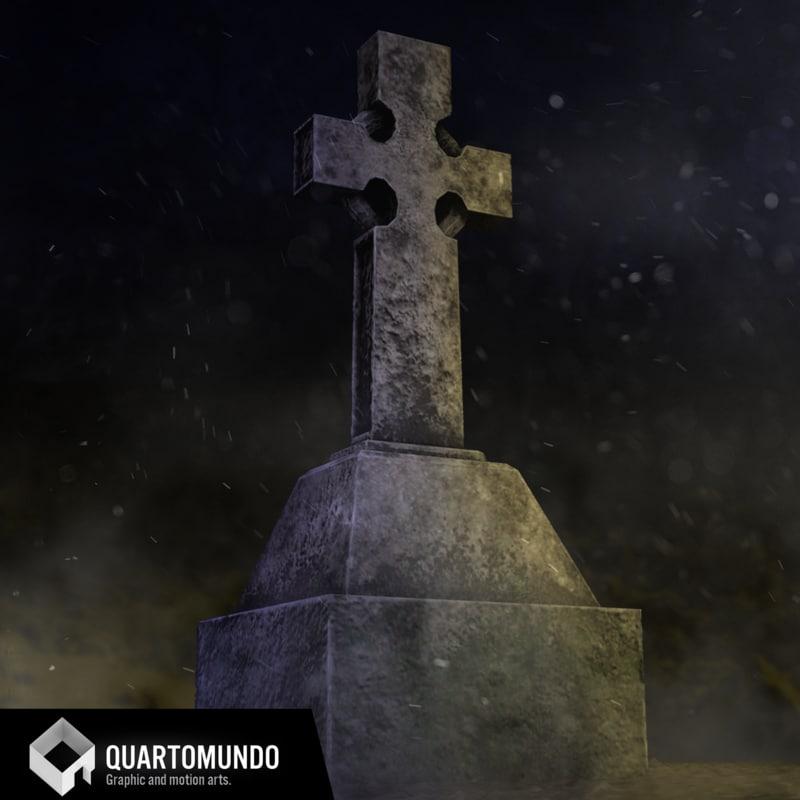 3D tombstone cross model