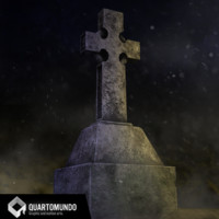3D tombstone cross model
