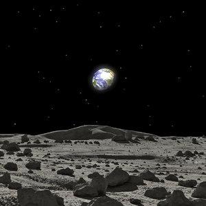 moon surface rocks scene 3D